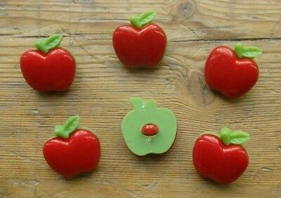 6  LARGE RED APPLE BUTTONS 20 mm WITH SHANK