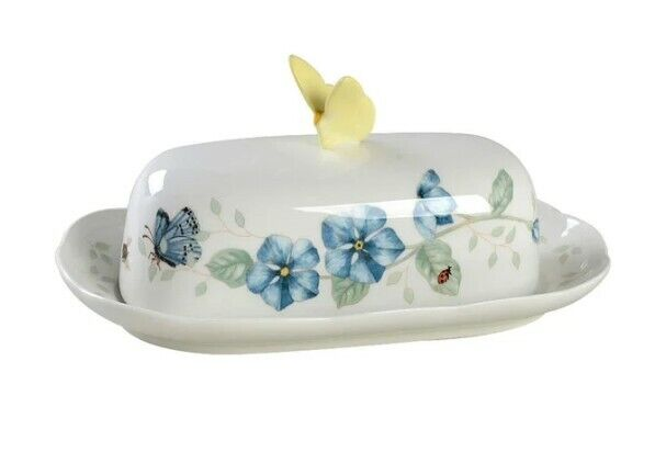 Lenox Butterfly Meadow Covered Butter Dish New Discontinued FREE Shipping