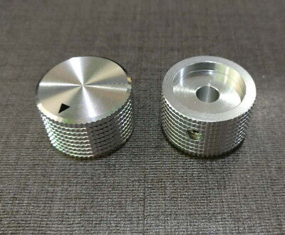 (2 x Aluminum Hi-Fi Control Knob Set Screw Type 25mmDx15mmH Chrome for 6mm Shaft)