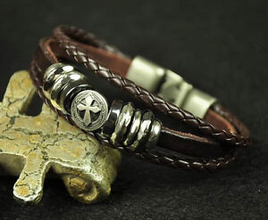Cool Metal Cross Studded Surfer Leather Bracelet Wristband Cuff Men's BROWN