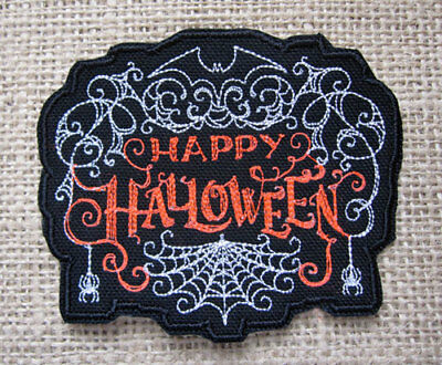Happy Halloween Spiders Cobwebs Get Witchy and Spooky Creepy Iron On Patch