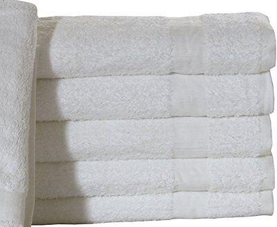 24 NEW COTTON BLEND 24X50 WHITE HOTEL PLATINUM BATH TOWELS HOTEL SPA irg new >>