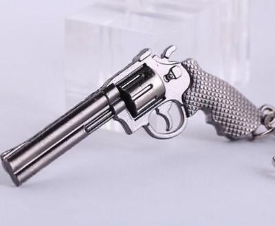 Revolver Pistol Weapon Mini Gun Model Metal Keyring Keychain Key Ring Chain *