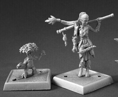 Reaper Pathfinder Druid and Familiar #60147 Pathfinder Miniatures Unpainted