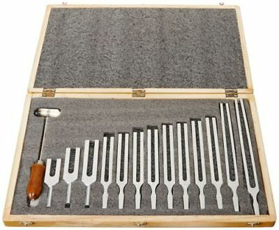 United Scientific Tfbox13 Tuning Fork Wooden Box Set With Mallet 13 Forks