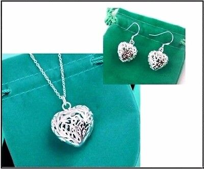 925 Silver Hollow Heart Necklace Pendant and Earring Set - UK SELLER -
