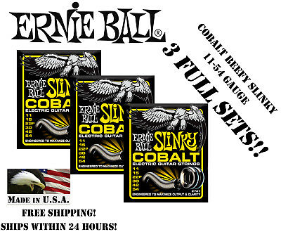 ** 3-PACK ERNIE BALL COBALT BEEFY SLINKY ELECTRIC GUITAR STRINGS 11-54 ** Ernie Ball Beefy Slinky String