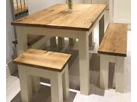 Kitchen dining Table and two Benches two Stools painted