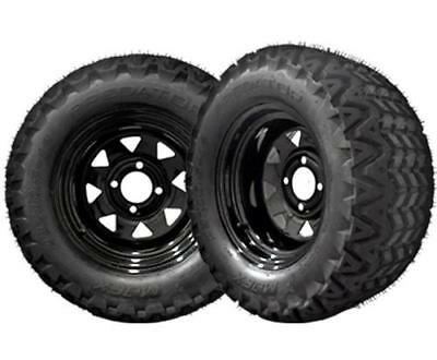 "BLACK FRIDAY Black Golf Cart 12"" Wheels w/ 23"" Lifted Golf Cart Tires - Set/4"
