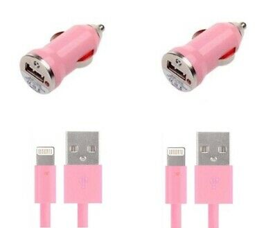 New 2X Sync Cable+USB Car Charger For Apple iPhone X XR 8 7 Plus 5 5S PINK Cell Phone Accessories
