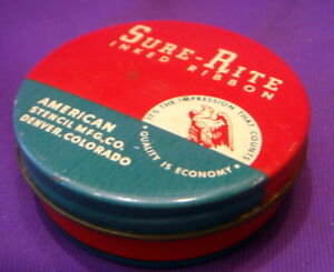 Sure-Rite-Typewriter-Ribbon-Tin-Bright-Reds-Blues-Fine-Condition