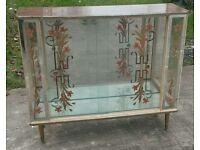 Vintage glass china cabinet sliding doors shelving inside dansette legs flower pattern Danish style