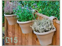 Set Of Three Beige Balcony Planters - Brand new in packaging