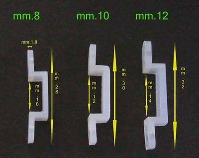 Clip di fissaggio per strisce led di mm.8-10-12 in resina elastica in vari lotti