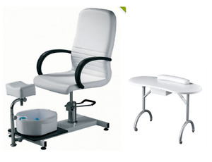 Hydraulic Pedicure Spa Chair w/ Portable Manicure Table Foldable