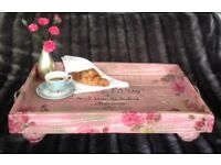 Large wooden ottoman/breakfast tray