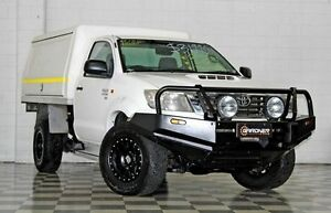 2012 Toyota Hilux KUN26R MY12 SR (4x4) White 5 Speed Manual Cab Chassis Burleigh Heads Gold Coast South Preview