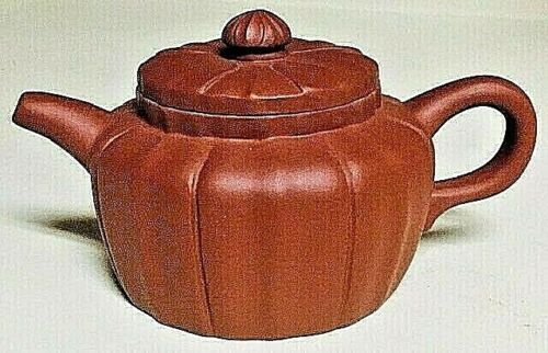 Vintage Collectible Chinese Handmade Yixing Brown Ribbed Teapot
