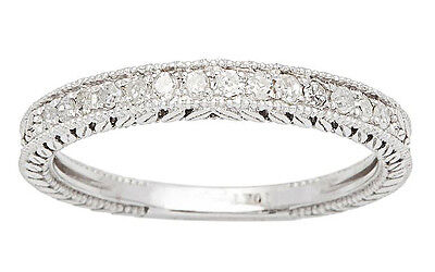 10k White Gold 1/4ct Vintage Style Engraved Diamond Wedding Band (G-H, I1-I2)