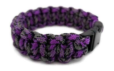 "Paracord Bracelet 550 Black Tactical 3/8"" Buckle (Mystique) Hand Made"