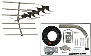 Outdoor Loft Digital Wideband TV Aerial Television Signal Antenna & Fixing Kit