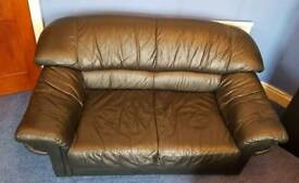 Two seater black leather sofa