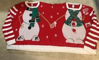 Two Person Headed Snowman Ugly Christmas Sweater Tacky Twins Unisex Size L/XL (Tacky Sweater)