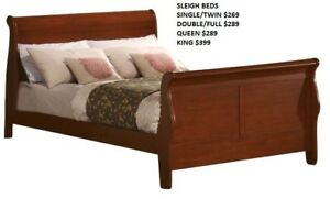 DOUBLE OR QUEEN LOUIS PHILLIPE SLEIGH BED $289-GREY/WHITE/WALNUT
