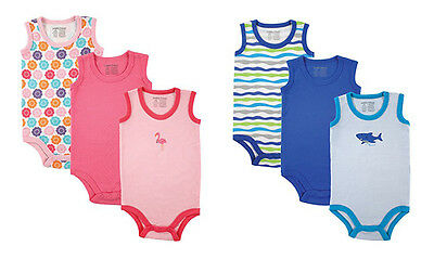 Luvable Friends Baby Boys Blue Shark & Girls Pink Flamingo Sleeveless Bodysuit