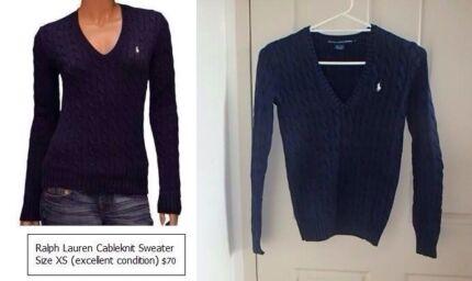 Navy Ralph Lauren cableknit V-neck sweater size XS Strathfield Strathfield Area Preview