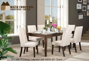 RECTANGLE SOLID WOOD TABLE WITH 6 WHITE AND OAK WOOD CHAIR DINNING SET-ONLINE SALE BRAMPTON-CALL 905-451-8999 (BD-3)