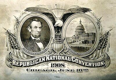 RARE 1908 REPUBLICAN NATIONAL CONVENTION ABN CO PRINTING PLATE ABRAHAM LINCOLN