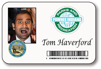 TOM HAVERFORD PARKS & RECREATION NAME BADGE HALLOWEEN PROP PIN - Haverford Halloween