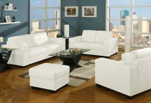 CLEARANCE OVERSTOCK SALE TUXEDO WHITE LEATHER LOOK SOFA