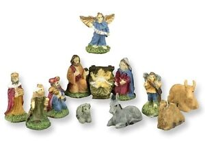 handpainted christmas nativity set 12 piece dollhouse miniatures - Miniature Christmas Decorations For Dollhouses