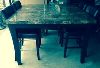 Granite Top 5 pcs Dinette Table Pub Set