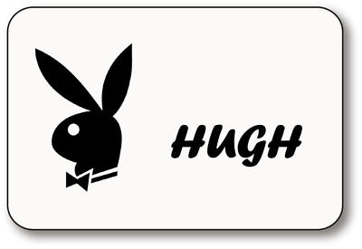 HUGH HEFNER PLAYBOY NAME BADGE HALLOWEEN PROP MAGNET BACK - Hefner Halloween Costume