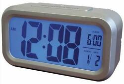 Westclox Silver LCD Alarm Clock Battery Smart Back Light Calendar Ships from USA