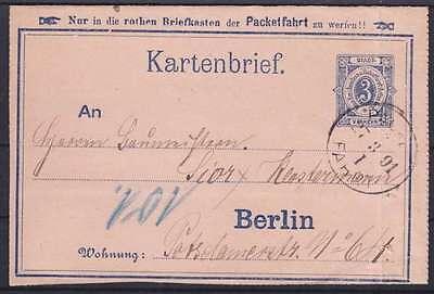 Stadtpost Berlin 3 Pf. Kartenbrief Ganzsache, gel. 27.03.1891, GA Privatpost