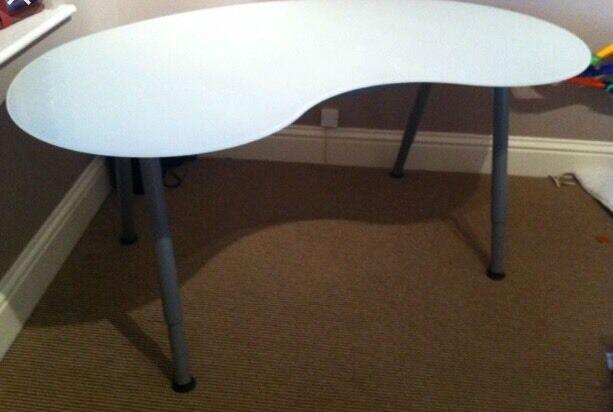IKEA Glass Top Desk Bean Shaped