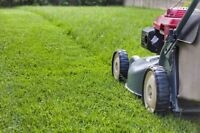 Lawn mowing by a high school student