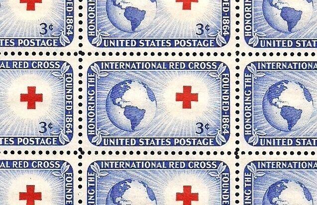 1952 - International Red Cross - Full Mint Sheet Of 50 Vintage Postage Stamps