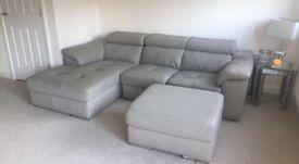 Hygena Valencia Leather Sofa & FootStool