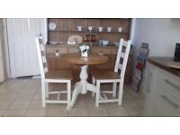 Old creamery table and two chairs