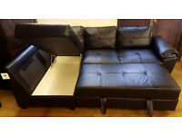 Brand New Fernando Leather Left Hand Corner Sofa Bed - Black