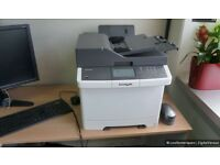 Lexmark CX410DE printer *spares or repairs* still has ink cartridges inside