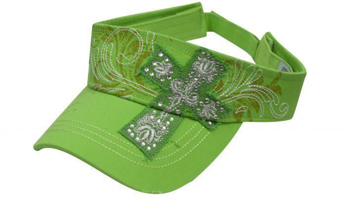 LIME GREEN Visor w// Embroidered Cross Filigree /& Rhinestones NEW WESTERN WEAR!