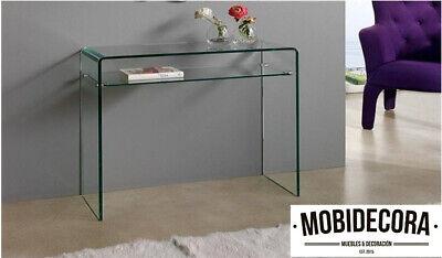 Consola de diseño cristal curvado mueble recibidor entrada