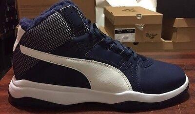 NIB MENS PUMA REBOUND STREET EVO FUR BLUE MID BASKETBALL WALKING SNEAKER SHOES Evo Mid Sneaker