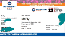 2 x McFly tickets 29th September 2021
